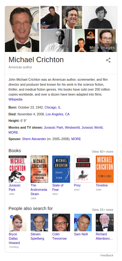 Google Knowledge Graph for Michael Crichton